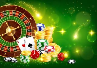 Roulette Rad Karten und Würfel
